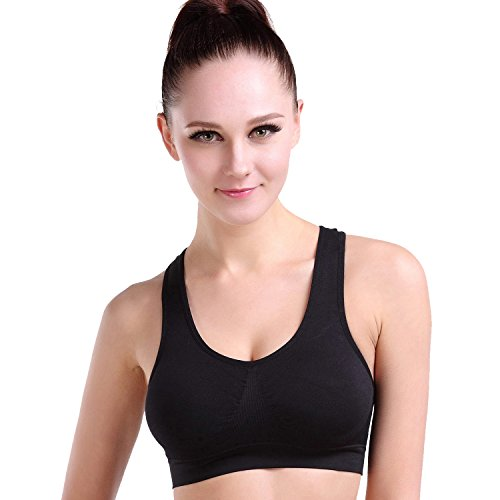 Ekouaer Women's Padded Wirefree High Support Pro Compression Sports Bra,Black,S