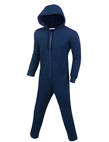 Ekouaer Mens Onesie Pajamas Adult Hooded Non Footed Jumpsuit PJS Sleepwear