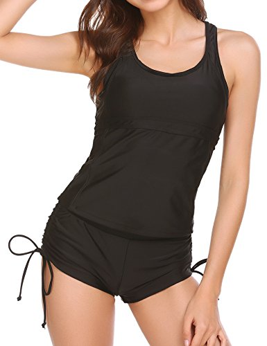 Ekouaer Pin Up Padded Swimwear With Boyshorts Tankini Swimsuit For Women
