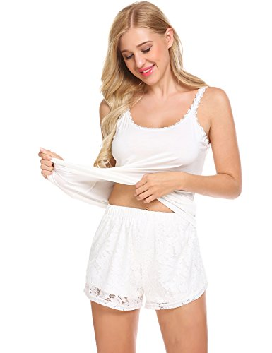 Ekouaer Womens 2 Pieces Cotton Short Pajamas Set Ladies Tank Bottom Sleepwear
