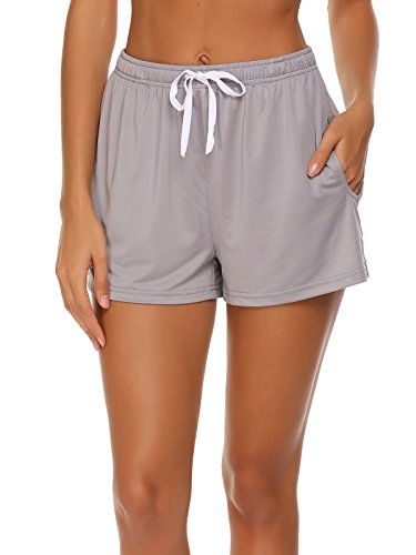 Ekouaer Women's Solid Pockets Casual Shorts