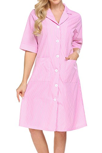 Ekouaer Womens Nightshirt V Neck Short Sleeves Striped Pajama Top Boyfriend Shirt Dress with Pockets