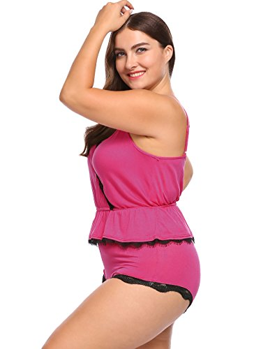 ekouaer Women Plus Size Lace Trim Ruffles Hem Cami & Shorts Pajama Set Sleepwear