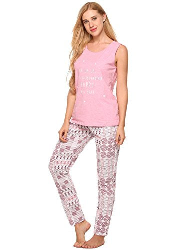 Ekouaer Sleepwear Womens Print Pajama Set Sleeveless Tank Loungewear
