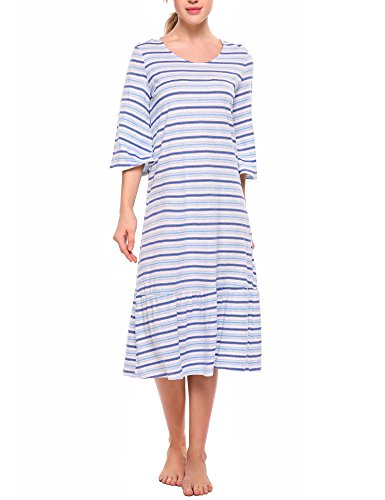 Ekouaer Striped Nightgown Women's Sleepwear 3/4 Sleeve Lounge Sleep Dress S-XXL