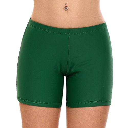 Ekouaer Tankini Swim Bikini Bottom Womens Solid Color Broad Swim Sport Shorts(FBA)