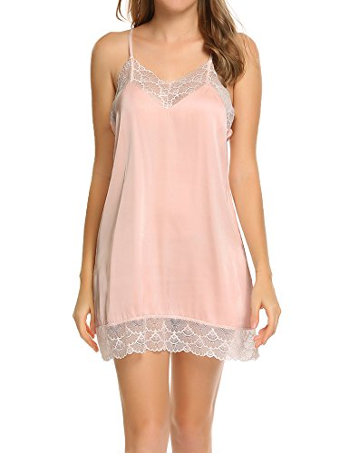 Ekouaer Sexy Lace Chemise Nightgown Strappy Satin Sleepwear For Women