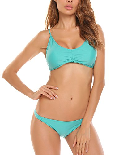 Ekouaer Swimwear Women Sexy Solid Back Buckle Padded Wire Free Low Waist Bikini Set S-XXL