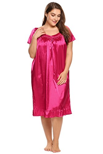 Ekouaer Women's Plus Size Short Flutter Sleeve Nightgowns