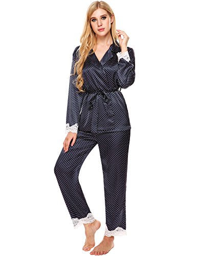 Ekouaer Christmas Pajama Womens Comfy Sleepwear Button Down Satin Nightgown