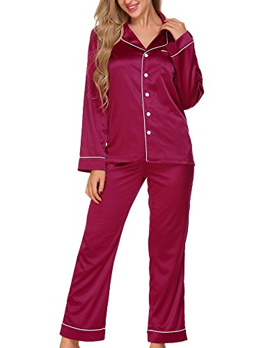Ekouaer Women's Plain Satin Sleepwear Button Up Pajama Set (Wine Red,S)