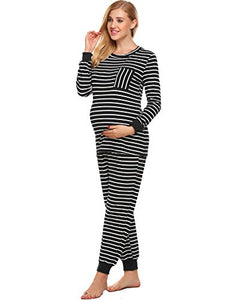 Ekouaer Pregnant Women Stripe Pajama Set Soft Maternity&Nursing Cotton Breastfeeding Sleepwear