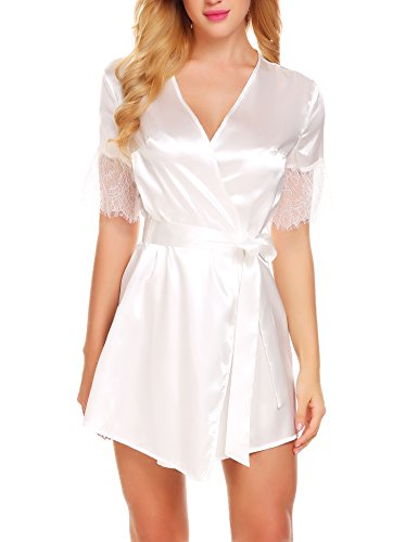 Ekouaer Robes Womens Short Kimono Bathrobes Satin Sleepwear Lingerie (XS-XL)