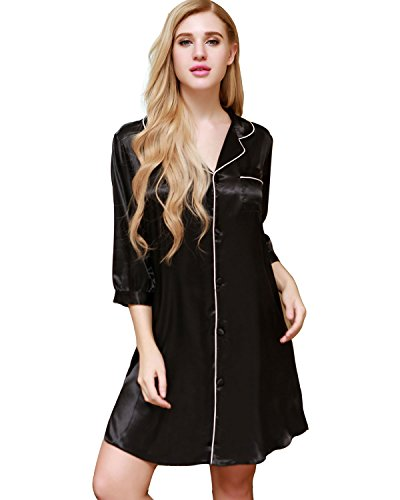 Ekouaer Sleepshirt Women's Nightgowns Long Sleeved Night Gown Soft Lingerie Lounge Dress