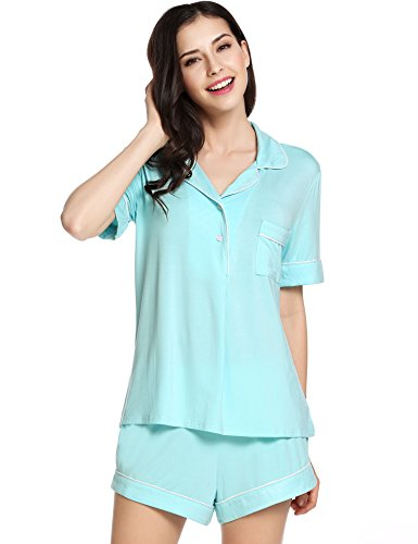 Ekouaer Womens Short Sleeves Pajama Set Eco-Friendly Gifts Sleepwear with Pj Shorts