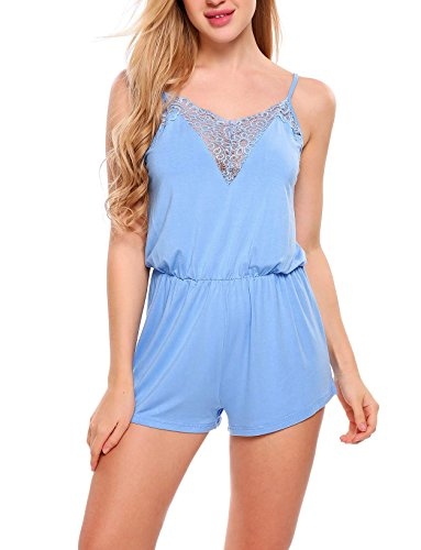 Ekouaer Women Sexy Lace Rompers Jumpsuit Playsuit Summer Sleepwear