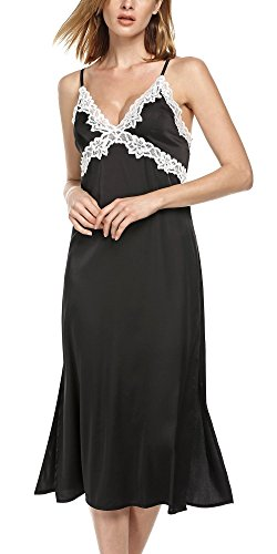 Ekouaer Women's Long Chemise Slip Lace Camisole Satin Nightgown