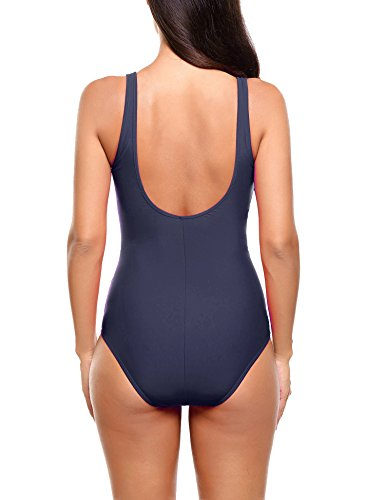 Ekouaer Monokinis Swimsuit Womens One Piece Vintage Pin up Beach Swimwear S-XXL