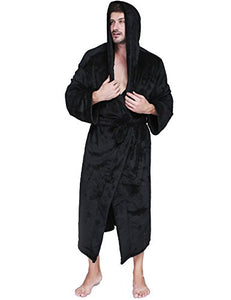 Ekouaer Warm Robe Men's Flannel Bathrobes With Hooded Plush Shawl Kimono Sleepwear