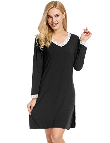Ekouaer Women's Nightshirts Viscose Chemises Slip Long Nightgown Sleepwear S-XXL