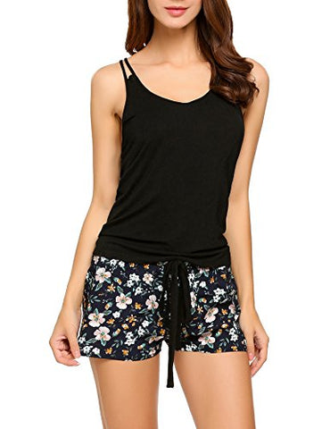 Ekouaer Tank Bottom Cotton Pajama Shorts Set For Women