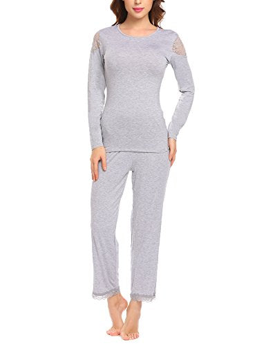 Ekouaer Women's Long Sleeves Pajama Set Cotton Sleepwear Comfortable Loungewear Set Of T-Shirt and Pants
