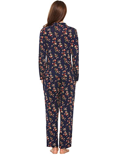 Ekouaer Women's Long Sleeves Floral Pajamas Set Sleepwear