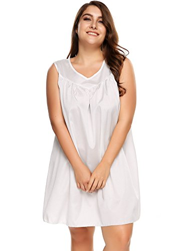 Ekouaer Women's Plus Size Faux Silk and Lace Sleeveless Nightgown Plus Size Sleepshirt