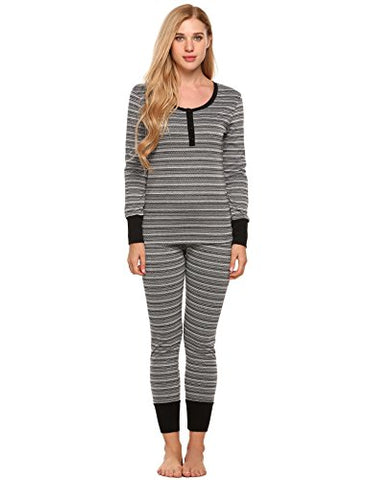 Ekouaer Women's Fitted Thermal Pajama Set Contrast Patterned Knitted PJS Sets