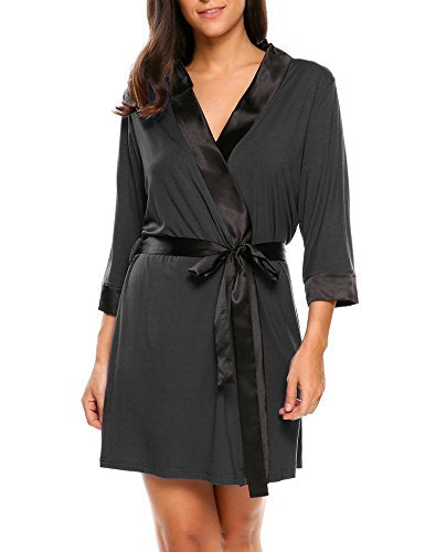 Ekouaer Women's Kimono Robe Short Lightweight Viscose Knit Bathrobe (S-XXL)