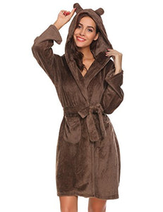 aesthetic appearance best quality for deft design Ekouaer Womens Bathrobe Hooded Plush Robes With Two Animal Ears Christmas  Robe
