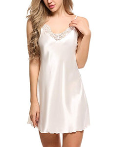 Ekouaer Women's Satin Lace Trim Slip Chemise Nightgown