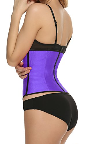 Ekouaer Women's Waist Training Corsets for Plus Size Women(Purple,L)