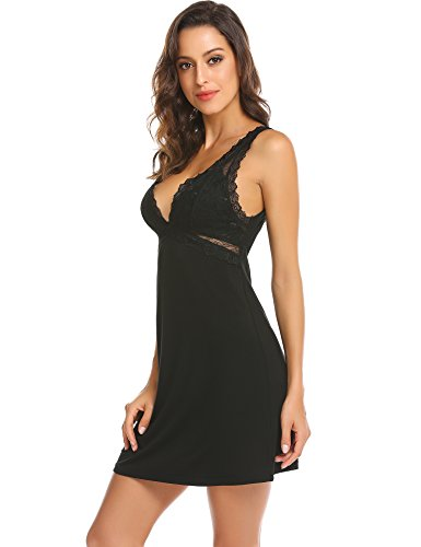 Ekouaer Womens Chemise Nightgown Full Slip Lace Lounge Dress Sexy Sleepwear S-XXL