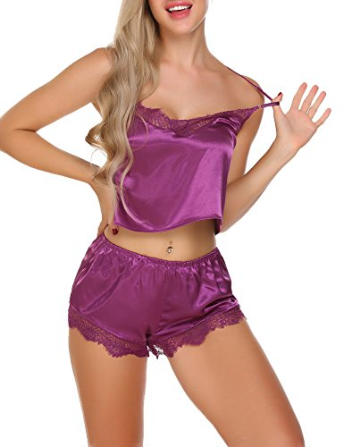 Ekouaer Sexy Satin Lingerie Chemise Lace Pajama Shorts Set For Women