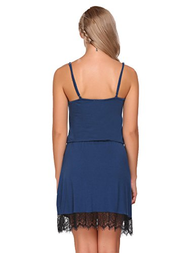 Ekouaer Women's Nightgown Sexy Lingerie Lace Trim Full Slip Lounge Dress