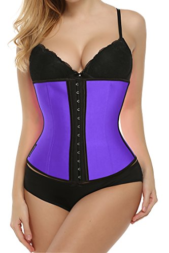 Ekouaer Women's Underbust Corset Waist Training Vest For Weight Loss Body Shaper(Purole, Medium)
