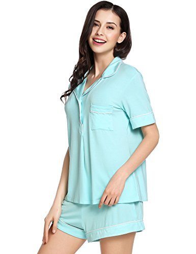 Ekouaer Womens Short Sleeves Pajama Set Eco-Friendly Gifts Sleepwear