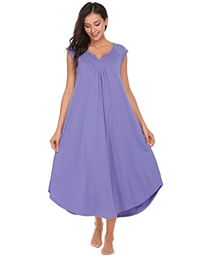 Ekouaer Sleepwear Cotton v Neck Pajamas Cap Sleeve Long Nightgowns