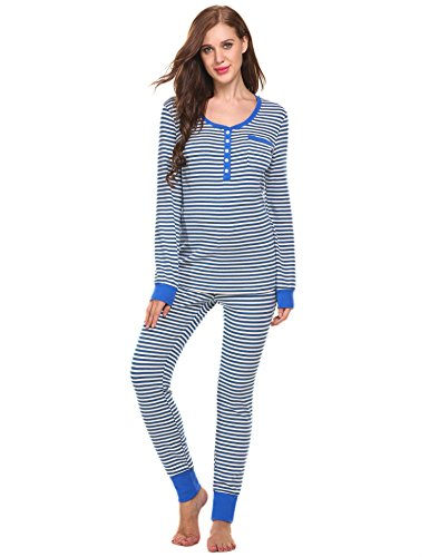 Ekouaer Women's Cotton Fitted Striped Long Sleeve Henley Two-Piece Pajama Set S-XXL