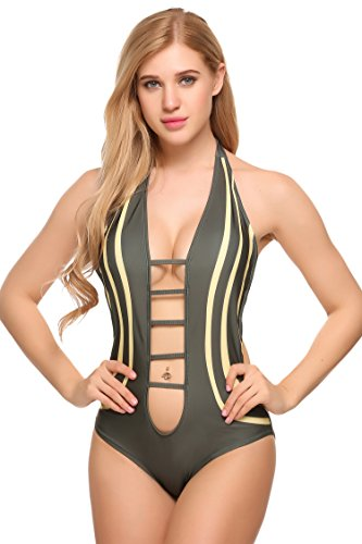 Ekouaer Stylish Women Sexy One-Piece Bikini Patchwork Swimwear Swimsuit Bathing Suits(FBA)