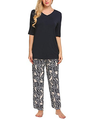 Ekouaer Womens Pajamas Set Plus Size Floral Leaves Print Pjs Pants Sleepwear (Navy Blue, S)