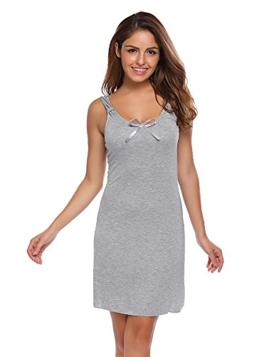 Ekouaer Women's Full Slip Cotton Blend Sleeveless Chemise Nightgown Sleep Dress S-XXL