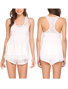 Ekouaer Women's Sleeveless Sleepwear Lace Pajama Set