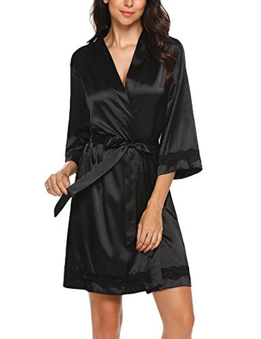 Ekouaer Women's Silk Robe 3/4 Sleeve Short Kimono Bathrobe Black XXL