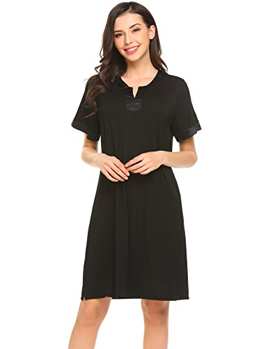 Ekouaer Women's Nightshirt Sleepwear Short Sleeve Nightgown Sleep Dress