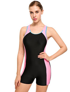 Ekouaer Womens One Piece Swimsuit Sports Racer Back Tankini Boyleg Swimwear (Black, L)