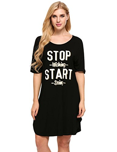 Ekouaer Womens Nightgown Letter Print Sleep Dress Nightshirt Summer Sleepwear