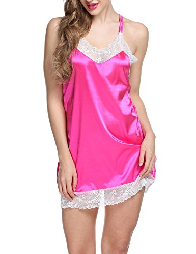 Ekouaer Women's Satin Nightgown Sexy Lace Trim Slip Chemise