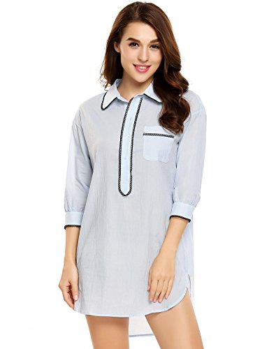 Ekouaer Sleep Shirt Dress Womens Pajama Button Down Contrast Color V-Neck Sleepwear (S-XL)